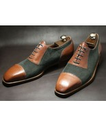 Gray Tan Suede Leather Shoes, Formal Cap Toe Trendy Two tone Shoes Made ... - $149.99+