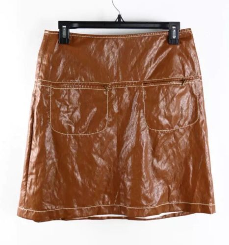 Max Studio Cognac Brown Faux Leather 2-Pocket Above-The-Knee Skirt