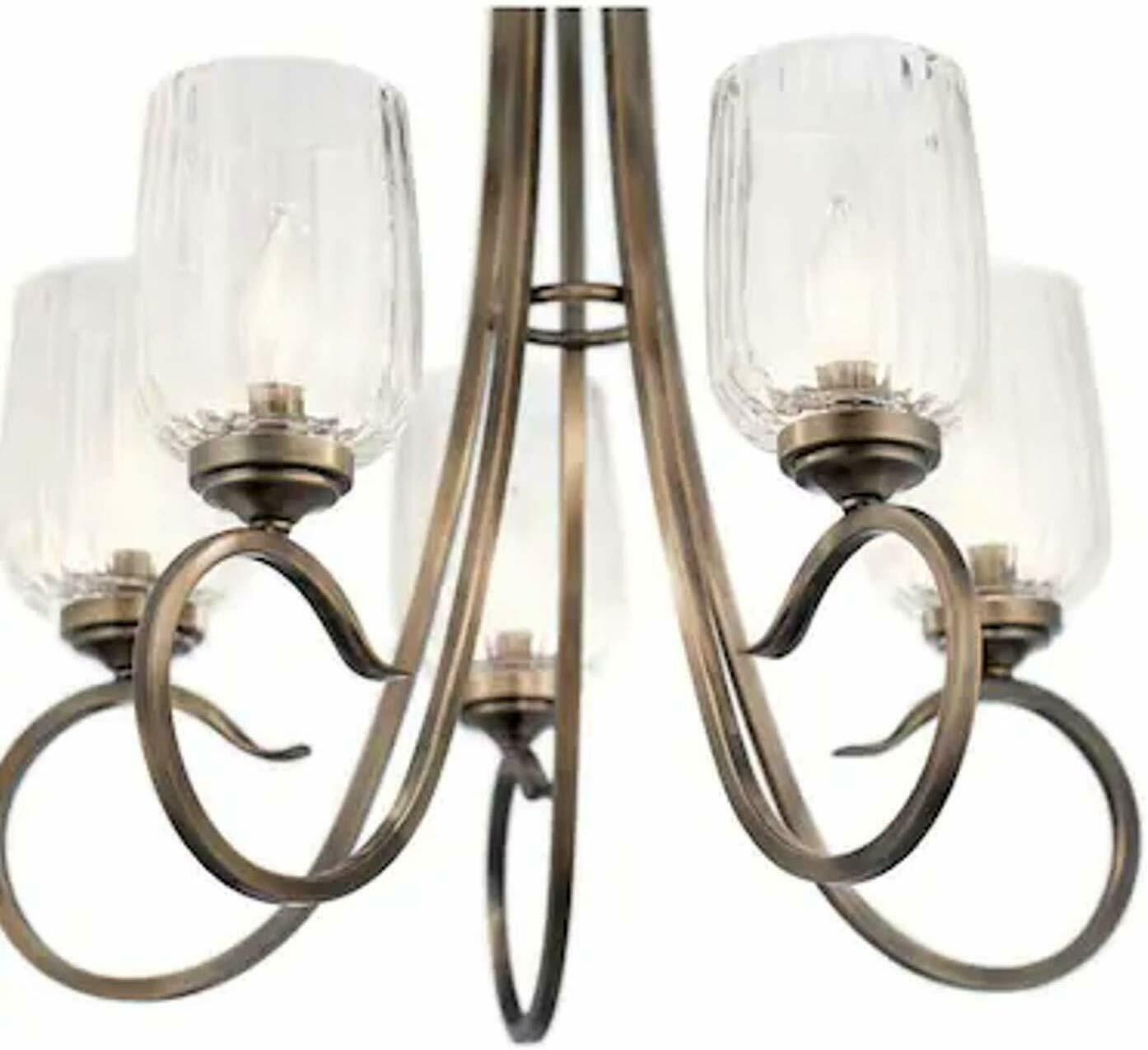 Kichler Chesterlyn 5 Light Vintage Tuscan Traditional Ribbed Shaded Chandelier - $117.81