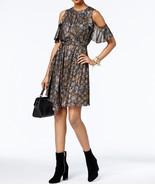 $165  Michael Kors Metallic Cold-Shoulder Dress Silver/Gold M - $104.83