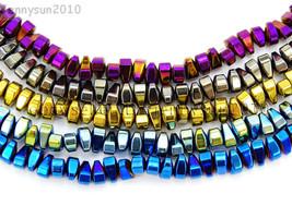 "Natural Hematite Gemstone 4mm x 6mm Freeformed Loose Beads 15.5"" Metalli... - $4.36"