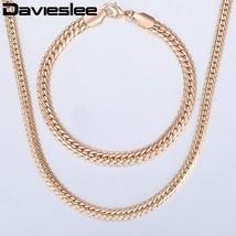 Davieslee Womens Jewelry Set 585 Rose Gold Bracelet Necklace Set Hammere... - $13.13