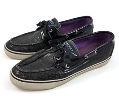 Sperry Top-Sider Bahama 2-Eye Boat Shoes Loafers Black Sequin Bling Wome... - $29.52