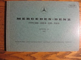 Mercedes-Benz Type 200 220 D Parts Catalog Manual 1968 1969 1970 1971 19... - $65.84