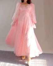 Pink Tutu Dress for Adults Gown Long Sleeve Retro Pink Plaid Tutu Birthday Gown image 2