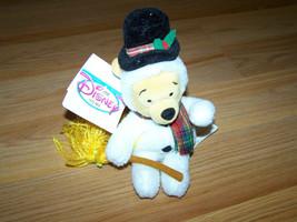 "Disney Store Winnie the Pooh Snowman Bean Bag Plush Holiday Bear 8"" Animal - $18.00"