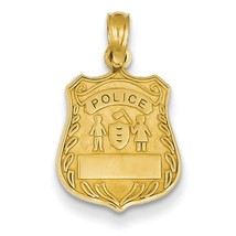 14k Yellow Gold Engravable Police Badge Charm Pendant for Necklace - $79.84