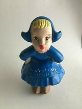 """Vintage HM Ceramic KISSING Girl Dutch Figurine Blue Bonnet & Dress 6"""" X ... - $14.22"""