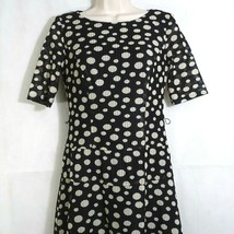 Anne Klein Drop Waist Dress Women Size 2 Black Cream Full Skirt Short Sl... - $14.84