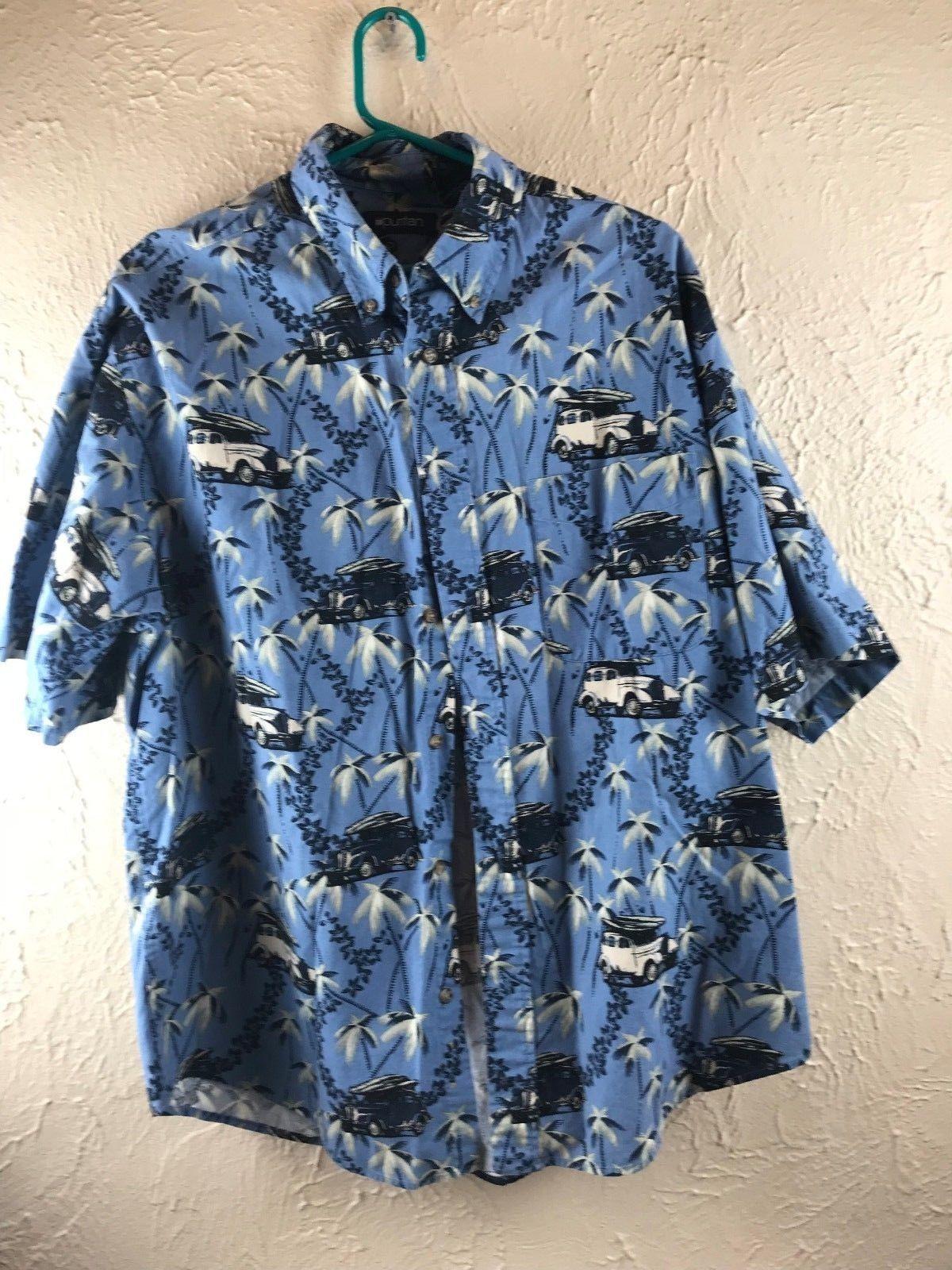 be6752c4f PURITAN Hawaiian Shirt Men's L Blue/Cream and 41 similar items