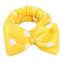 Hair Band Makeup Hair Wash A Face With Hair Hoop Bowknot Headdress(Yellow)