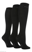 3 PAIRS GIRLS ELLE LOGO OVER KNEE PLAIN BLACK OR WHITE SOCKS - $7.19