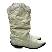 Vintage Zodiac Western Cowboy Boots Leather Silver Accent Rose 7.5 Ivory - $91.99