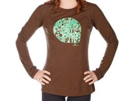 Large 12-14 Blurr Women's Woodland Tee T-Shirt Long Sleeve Shirt Espresso