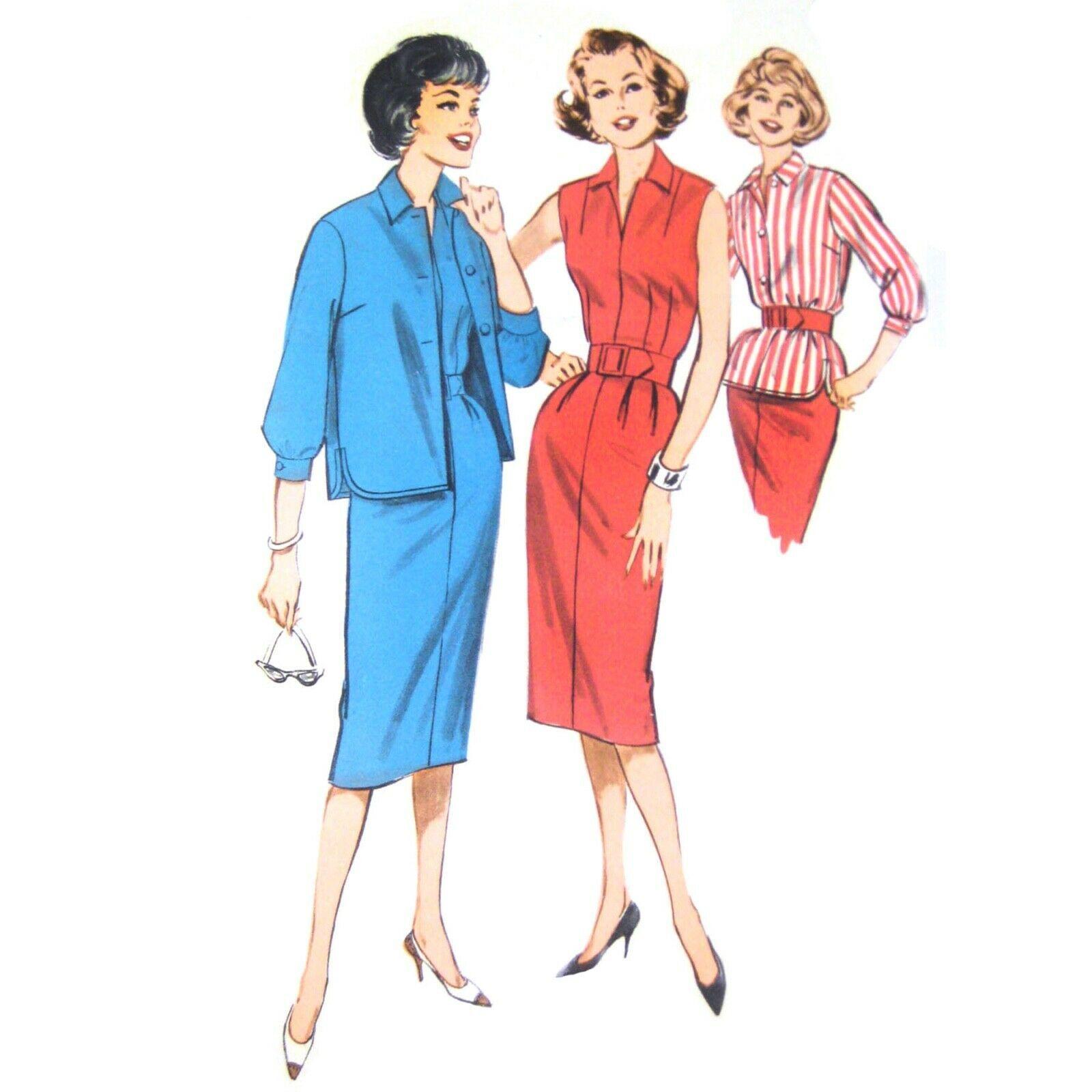 1960s Vtg Butterick Sewing Pattern 9308 Misses Sleeveless Sheath Dress Jacket 14 - $6.95