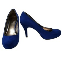 """Madden Girl Pumps Size 7 Blue Faux Suede Round Toe Slip On 3.5"""" High Hee... - $14.45"""