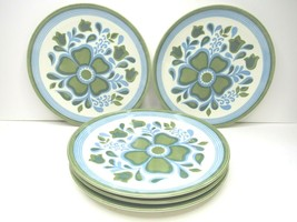 "5 VTG Royal Ironstone China Damsel Blue Green Floral 10"" Round Dinner Plates MCM - $43.23"