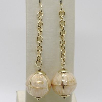 925 STERLING YELLOW SILVER PENDANT EARRINGS WITH BALL, BIG ENAMELED SPHERE, ROLO