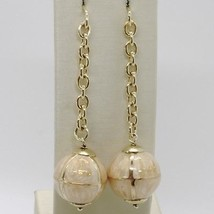 925 STERLING YELLOW SILVER PENDANT EARRINGS WITH BALL, BIG ENAMELED SPHERE, ROLO image 1