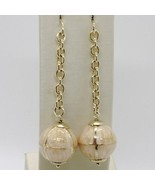 925 STERLING YELLOW SILVER PENDANT EARRINGS WITH BALL, BIG ENAMELED SPHERE, ROLO - $64.94