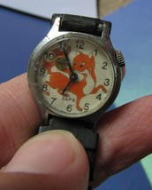 Vintage Ussr Soviet Kids Mechanical Wrist Watch Zarya Zarya Zaria Kolobok Fox - $30.00