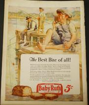 1928 Curtiss BABY RUTH Candy Print Ad boys & dad FISHING Pier by Chenoweth - $9.99