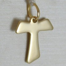 18K YELLOW GOLD CROSS, FRANCISCAN TAU TAO, SAINT FRANCIS, 2.0 CM, MADE IN ITALY image 1