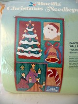 Vtg Bucilla Christmas Holiday Needlepoint Painted Wall Panel Craft Kit--... - $34.90