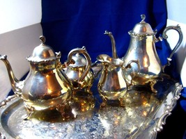 Silverplate Tea & Coffee Set plus Creamer and Sugar and Serving Tray by ... - $175.50