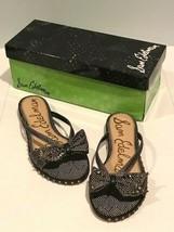 NIB Sam Edelman DARIEL Cevron Print Bow Black Sandal - Size 6  $100 - $56.42