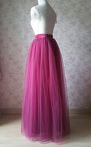 Full Tulle Maxi Skirt Plus Size Floor Long Tulle Skirt Wedding Guest Maxi Skirts image 8