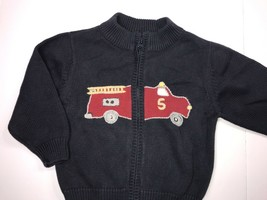Gymboree Sweater Toddler Boys 18 24 Months Fire Engine Blue Zip Fire Truck 2T - $17.05