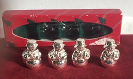Vtg Reed & Barton Christmas Snowmen Silverplated Place Card Holder Set o... - $15.19