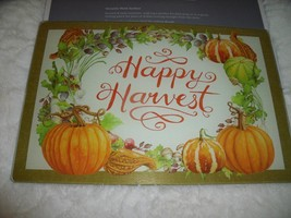 NEW FALL PUMPKINS Glass CUTTING BOARD Happy Harvest Gourds Vines AUTUMN - $9.74
