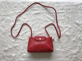 France Made Longchamp Le Pliage Cuir Crossbody Bag Red - $199.00