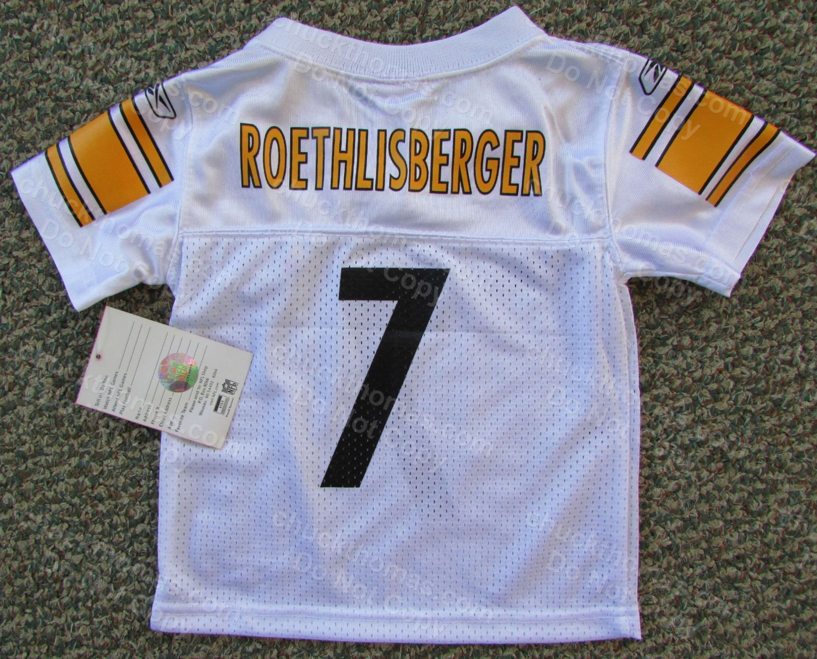 Steelers Ben Roethlisberger # 7 Quality Reebok™ Air Mesh White Child Jersey