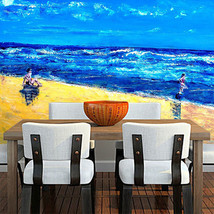 3D Strand - posse - gemälde 0 Fototapeten Wandbild Fototapete BildTapete Familie - $51.18+