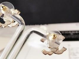 SALE*** CHANEL CLASSIC CRYSTAL CC LOGO RHINESTONE EARRINGS GOLD image 3