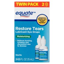 Equate Restore Tears Lubricant Eye Drops, 0.5 Oz, Twin Pack - $16.14