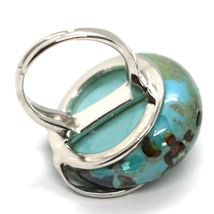 Ring Antique Murrina, Murano Glass, Disco Convex, Aqua Blue, Green image 3