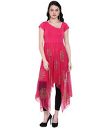 Ira Soleil pink long a symetrical hem kurti with copper print on net - $49.99