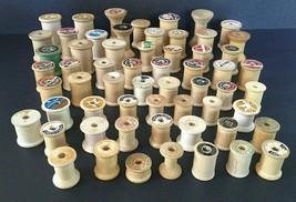 60 Lot Vintage Wood Sewing Thread Spools Empty Various Sizes Large Mediu... - $34.50