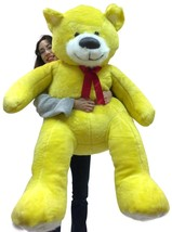 5 Foot Soft Yellow Teddy Bear Big Plush 60 Inch Huge Stuffed Animal Made... - $97.11