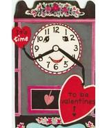 Vintage Valentine Card Anthropomorphic Clock 1960's Die-Cut for Children - $7.91