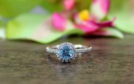 White,Aqua Diamond Round Cut Womens Eternity Ring Solid 10k White Gold F... - $289.99