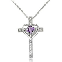 Sterling Silver Amethyst Cross Heart Pendant Necklace for Girls, Teens o... - $86.42