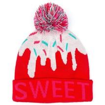 NEW Neff Girls Womens Pink Red Sweet Pom Beanie Winter Ski Hat 15F05043 NWT image 2