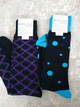 Lot of 2 Alfani Spectrum Socks Dressy Design Purple Black Blue - $12.82