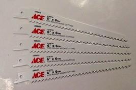 "Ace 96-09577 6"" x 6 TPI Bi-Metal Rough Wood Cutting Recip Saw Blade 5pcs Swiss - $3.96"