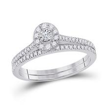 10kt White Gold Round Diamond Oval Bridal Wedding Ring Band Set 1/3 Ctw - $549.60